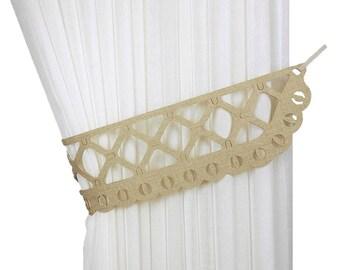 Unusual curtain tie back, Tie backs, Curtain tiebacks, Laser cutting ties, Drapery tiebacks, Curtain decor, Home decor, Perforated decor
