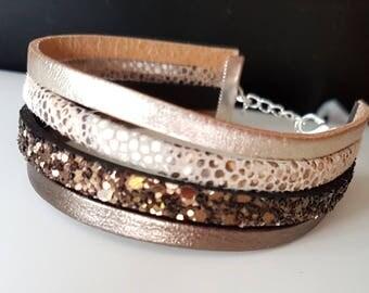 diy Kit bracelet to achieve self same tone Brown genuine leather gold