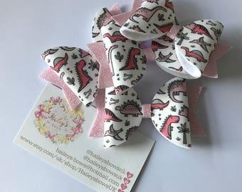 Pink Dinosaur Glitter Hair Bow Fine Glitter Hair Clip Headband Girls Haileys Bows