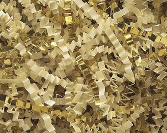 Crinkle Shred Gold/French Vanilla Blend Crinkle Gift Basket Shred, Crinkle Paper ,Filler paper, Basket Filler, Cut Paper Shred, Eco Friendly
