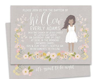 LDS Baptism Invitation, Girl Illustration Portrait, Baptism announcement,  Modern Printable Custom, Floral, Mormon baptism invite
