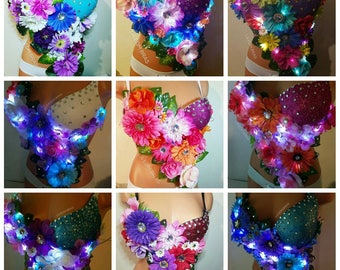 assorted light up led light up flowers rave bra top with glitter cup