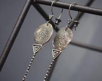 Tribal earrings. Oxidized 925 sterling silver.