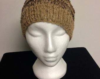 hand knit hand spun Alpaca hat warm snug unique packable washable