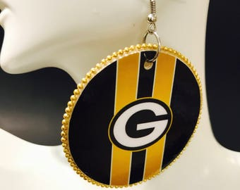 Packers Ear a Rings w/yellow beads