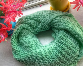 Teal Wool Knit Inifity Scarf