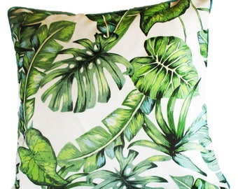 Green Tropical Palm Leaf Paradise Square Outdoor Garden Chair Cushion 50 x 50 Cover Only