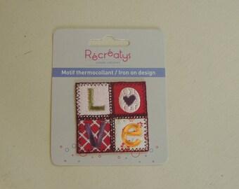 "Square heat-sealed badges girl clothing ""Love"""