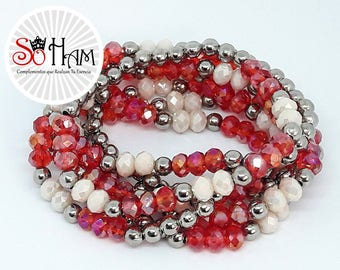 Bracelet Murano bracelet beads elastic gift for woman, birthday.