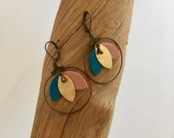 Bronze earrings - leather-