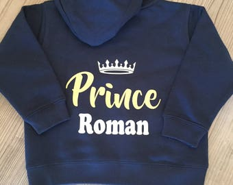 Baby/Toddler/Childs Prince/Princess Zipped Hoodie - Personalised By You!