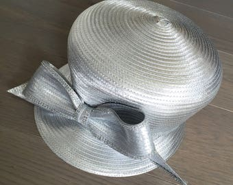 Silver Bucket Hat with Bow