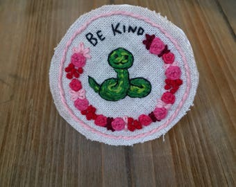 Be Kind! Snake Embroidered Patch