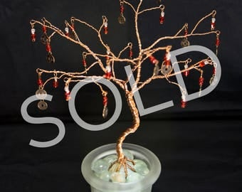 SOLD - Copper wire tree with Chinese coin replica charms