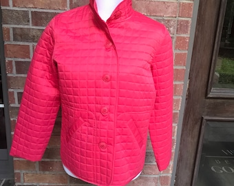 Quilted Jacket - Koret City Blues - Coral - Size S - Vintage