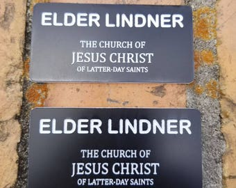 2 LDS Missionary Name Tags Mormon Missionary Name Badge with Magnets
