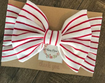 Red/White Striped Head Wrap