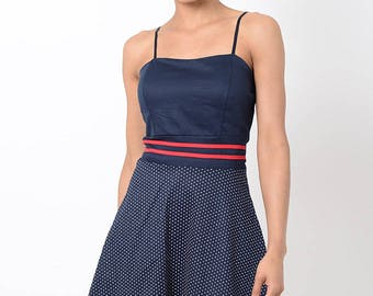 Stylish Navy Skater Dress