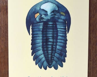 Been There, Done That: Evolution Postcard | Watercolour of a Fossil Trilobite | Science Illustration | Paleontology | Watercolour Postcard