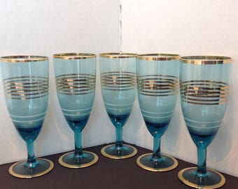 Set of 5 Blue Apertif Cordial Glasses With Gold Rims and Striping