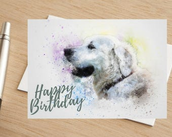 Dog Golden Retriever Happy Birthday Greetings Card