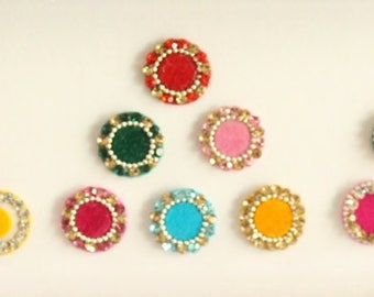 18 Round Colored Bindis ,Round Bindis,Velvet Colorful Bindis,Multicolor Face Jewels Bindis,Bollywood Bindis,Self Adhesive Stickers