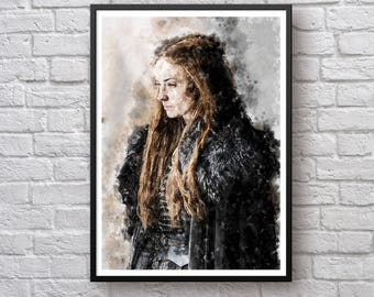 Sansa Stark Game of Thrones Print, House Stark Poster, Sophie Turner, Winter Coming Winterfell Poster Watercolor Canvas Art Print Wall Decor