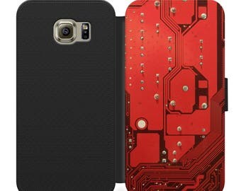 Geeky nerdy red circuit board flip wallet phone case for iphone 4 5 6 7 8 8 plus Samsung s2 s3 s4 s5 s6 s7 S8 S8 plus and more