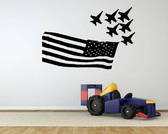 Aircraft Airplane American Flag Chopper Flying Machine Jet Plane Sky Fly High Clouds DIY Wall Stickers Decals Vinyl Mural Decor Art VG119