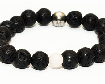 Lava Stone and Rose Quartz Bracelet
