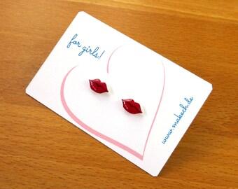 Girl children jewelry ear studs earrings of lips Silver 925