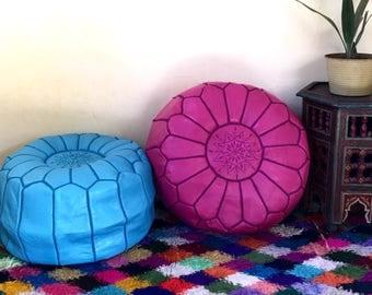 Moroccan Pouf round pouf Moroccan leather pouf handmade pouf set of 2  Handmade Leather poufs