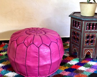 Moroccan Pouf Handmade Leather pouf Leather Ottoman boho decor Leather  farmhouse decor  pink  pouf