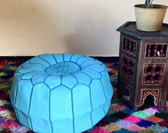 Moroccan Pouf Leather pouf  Leather Ottoman  Handmade pouf  Black pouf