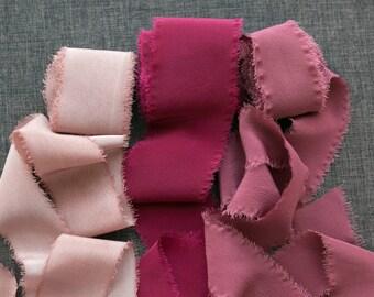 Berry Pink Bouquet Silk Ribbon Set; Crepe de Chine Silk; Wedding bridal bouquet, silk ribbons for your wedding bouquet