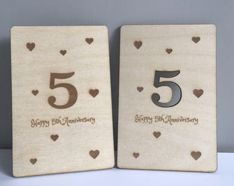 5th Wedding Anniversary Postcard, Personalised Card, For The One I Love, 5th Anniversary, Gift for him / her, Wood Anniversary Gift,