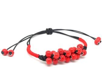Ceramic bead bracelet, beaded bracelet, adjustable cord bracelet, gift for her, boho jewelry.