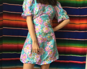 60s Springtime Flower Power Puff Sleeve Babydoll Mini Dress Size Small