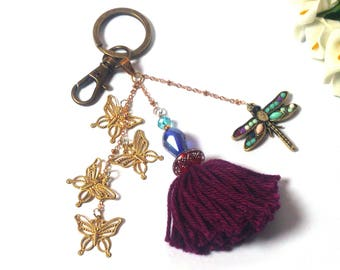 Keychain Purple Dragonfly Butterflies Tassel - Gold / Purple Fashion Keyring - Valentine Gift - Gift for Women - Pendant Insects
