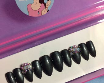 Gun metal grey Press on nails | pearl | crystals | false nails |