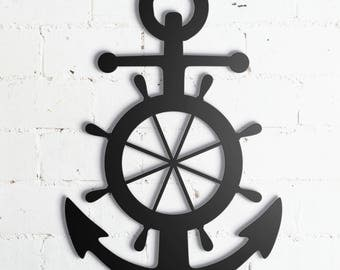 "Anchor Rudder Metal Wall Sign Art, Home Decor Gift 17""x12"" Wood,vein,color options"