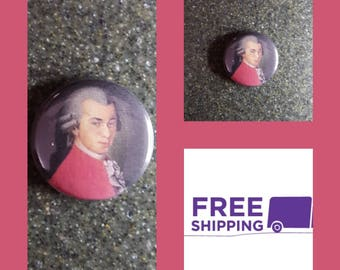 "1"" Mozart Portrait Button Pin or Magnet, FREE SHIPPING & Coupon Codes"