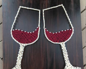 Handmade Wine Glass String Art