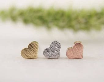24/7 Jewelry Collection Heart Earrings-heart-studs earrings-brushed-Minimalist-Silver-Gold-rose gold