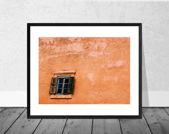 Morocco Art Print, Morocco Photography, Green Window, Red Wall, Marrakech, Colour Photography, Home Décor, Giclee Print