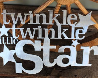 "Twinkle Twinkle Little Star Metal Wall Art Sign / Decor Accent / Nursery Decor / Baby Room / Handmade / Wall Decoration (17"" x 12"")"
