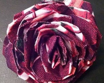 Fabric Rose Barrette Footballs