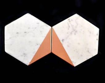 Wedding Coasters, Marble and Copper, Marble Wedding Decor, Marble Coasters, Carrara Marble, Geometric Wedding, Coaster Set of 6