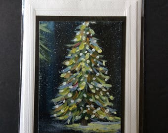 Christmas card Original, acrylics