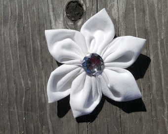 Solid White Fabric Bow
